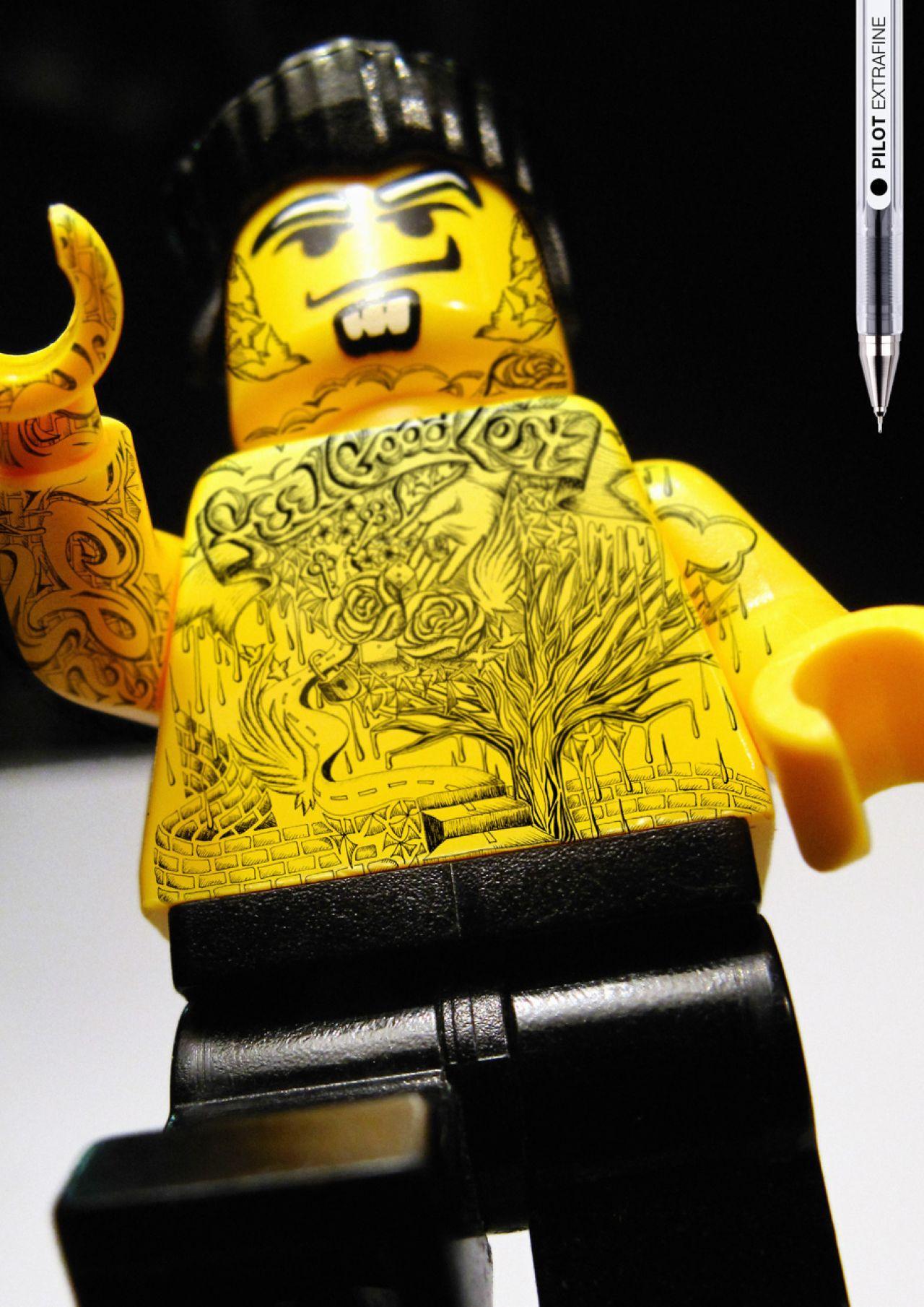Pilot Print Ad -  Legoman tattoo, chest