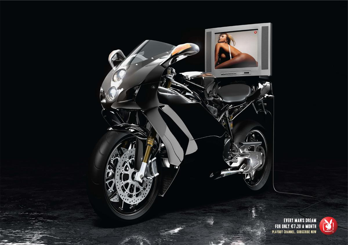 Playboy Print Ad -  Sex bomb, Bike