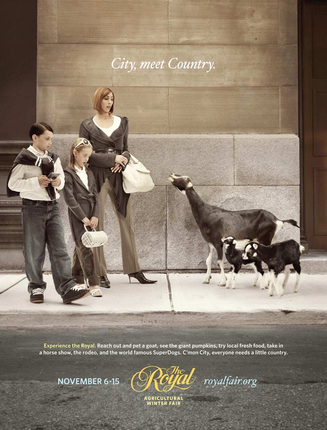 The Royal Agricultural Winter Fair Print Ad -  Family vs. Goats
