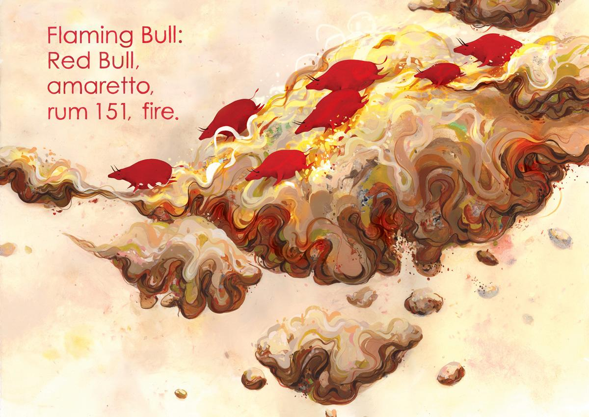 Red Bull Print Ad -  Flaming Bull
