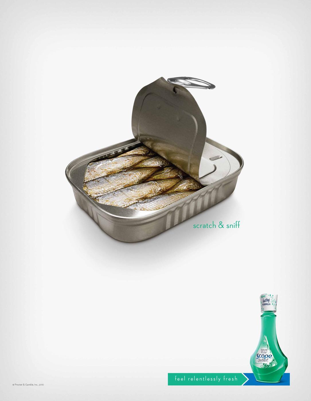 Scope Print Ad -  Relentlessly Fresh Sardines