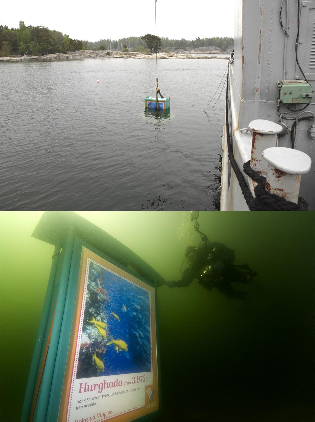 Ving Outdoor Ad -  Underwater billboard for divers
