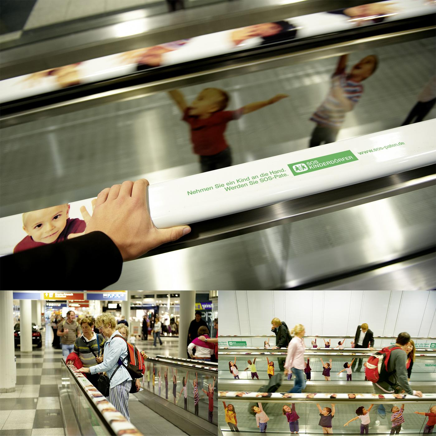 SOS-Kinderdörfer Ambient Ad -  Interactive moving walkway