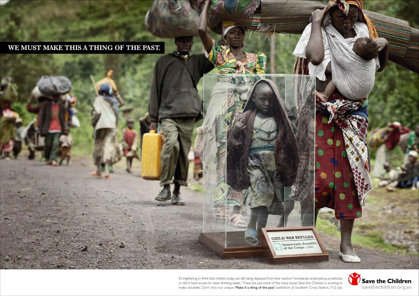 Save the Children Print Ad -  Child war refuge