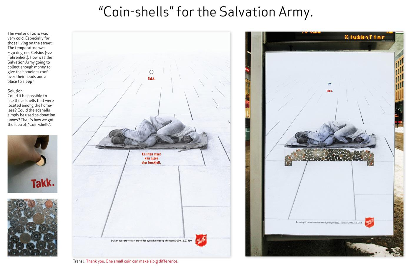 Salvation Army Print Ad -  Coin-shells, Bed