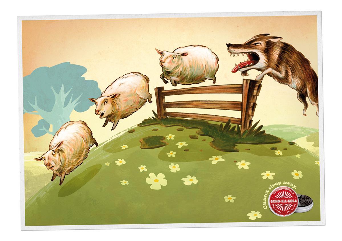 Scho-ka-kola Print Ad -  Chases sleep away