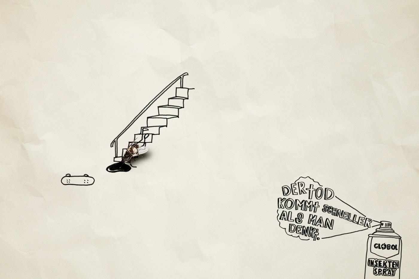 Globol Print Ad -  Dead flies, Skateboarder