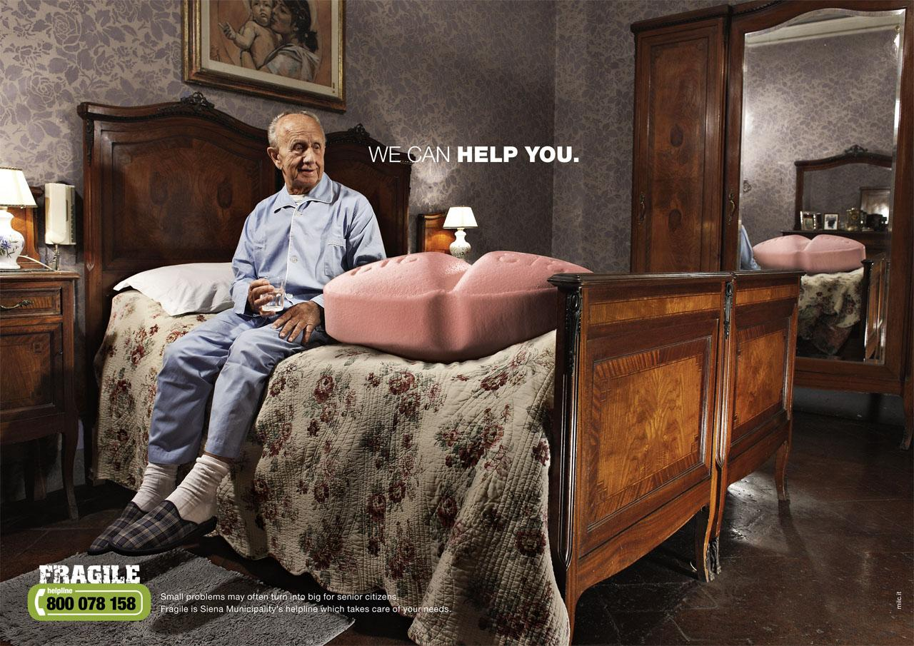 Fragile Print Advert By Milc: We can help you, Pill | Ads