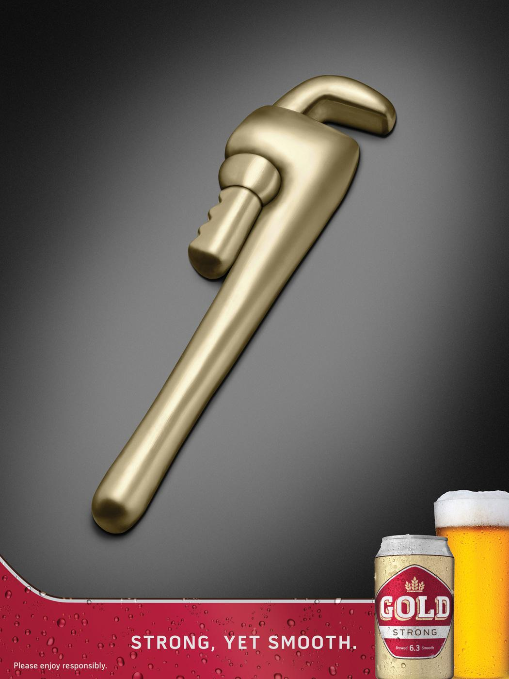 Gold Beer Print Ad -  Wrench