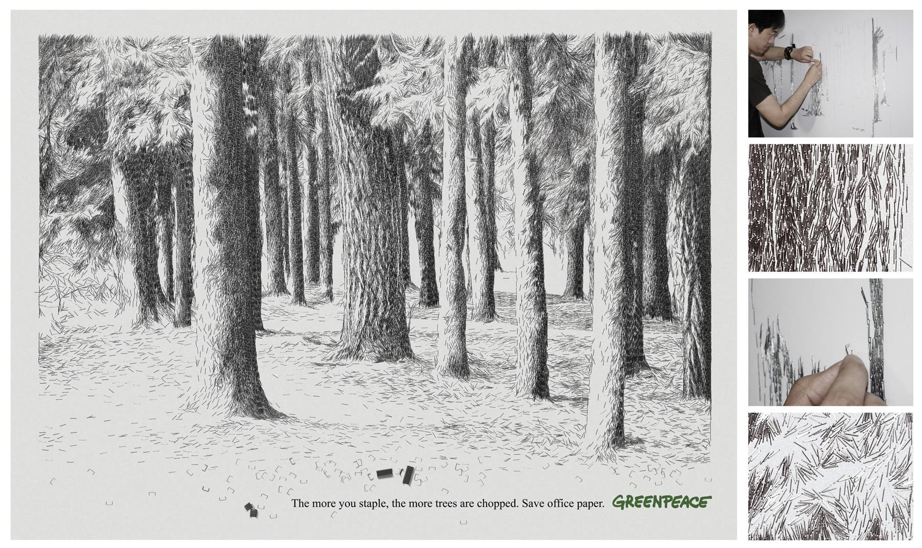 Greenpeace Ambient Ad -  Staple Trees