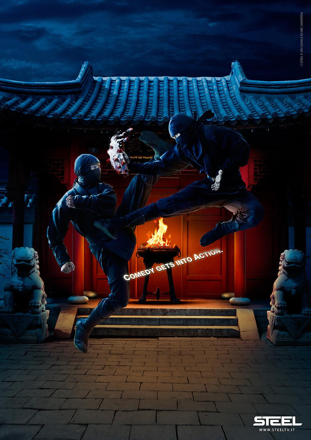 Steel TV Print Ad -  Into Action, Ninja