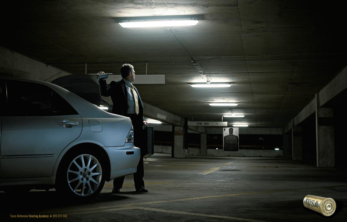 Texas Defensive Shooting Academy Print Ad -  Parking Garage