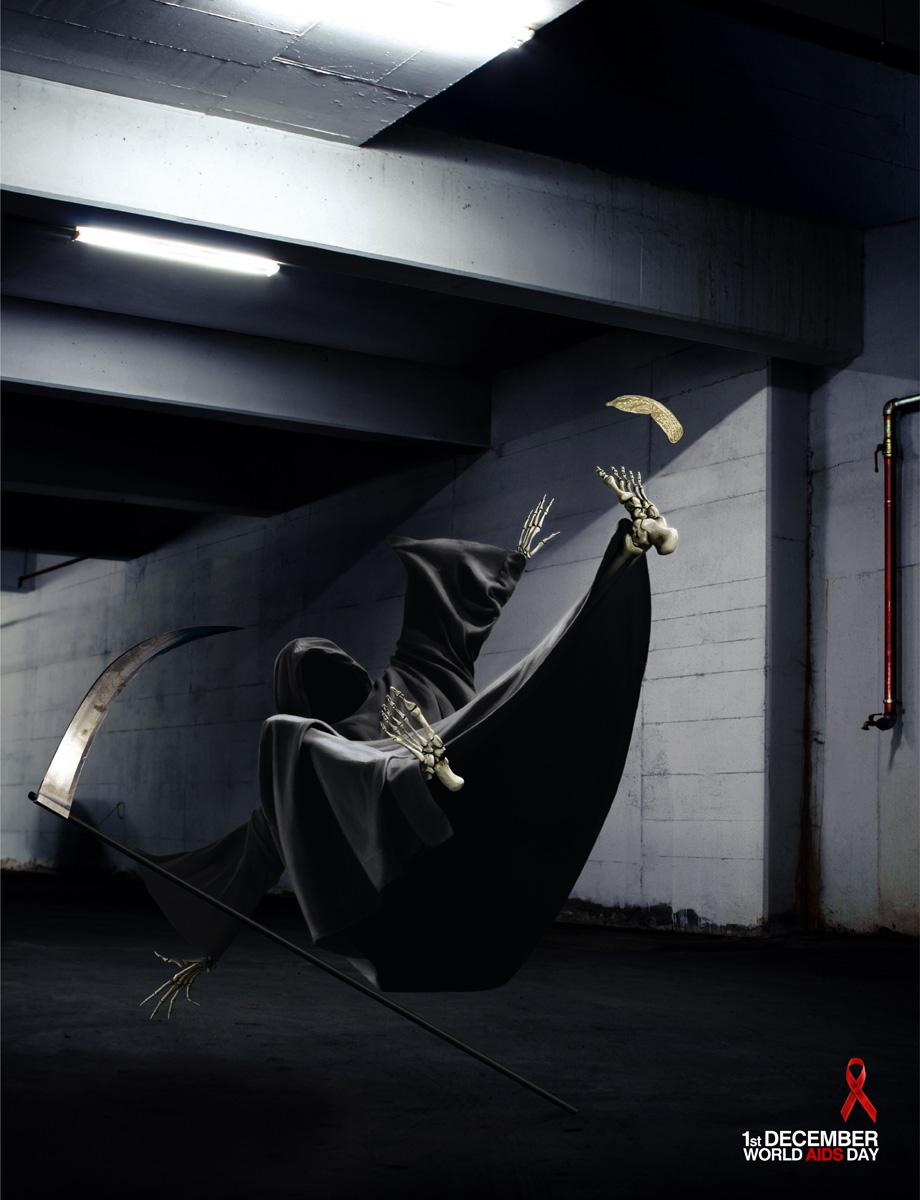 World AIDS Day Print Ad -  The Grim Reaper