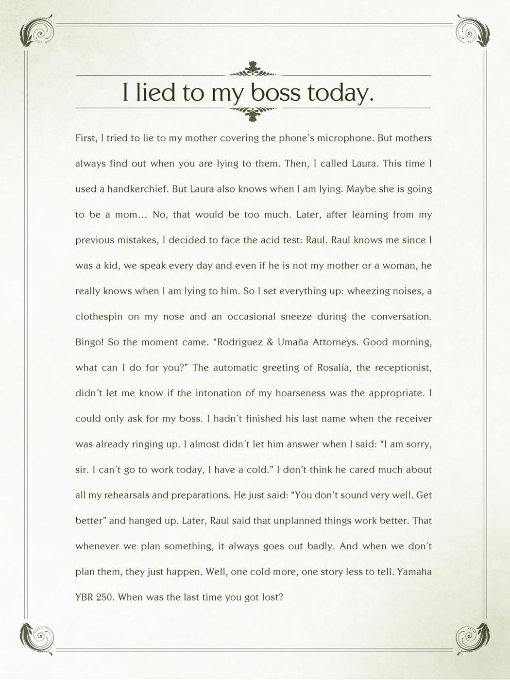 Yamaha Print Ad -  I lied to my boss