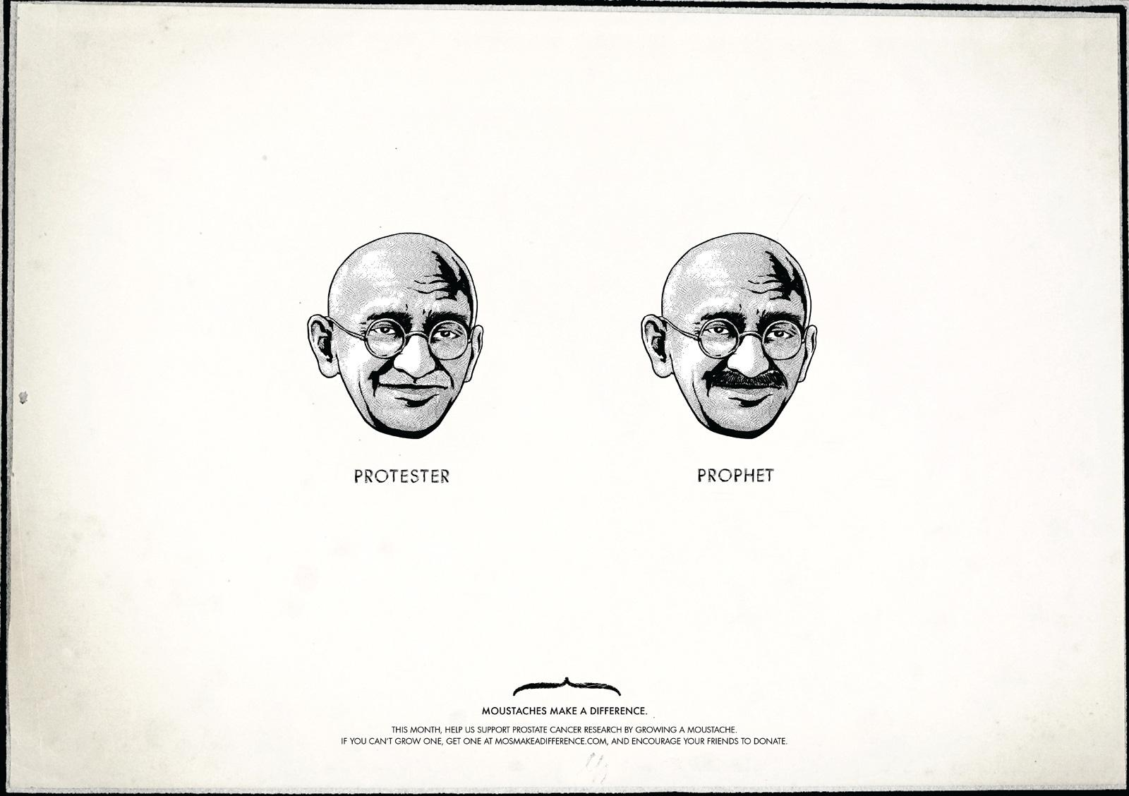 Moustaches Make A Difference Print Ad -  Gandhi