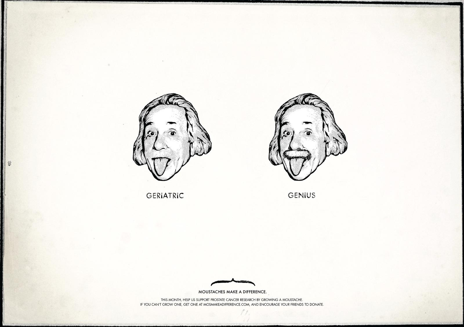Moustaches Make A Difference Print Ad -  Einstein