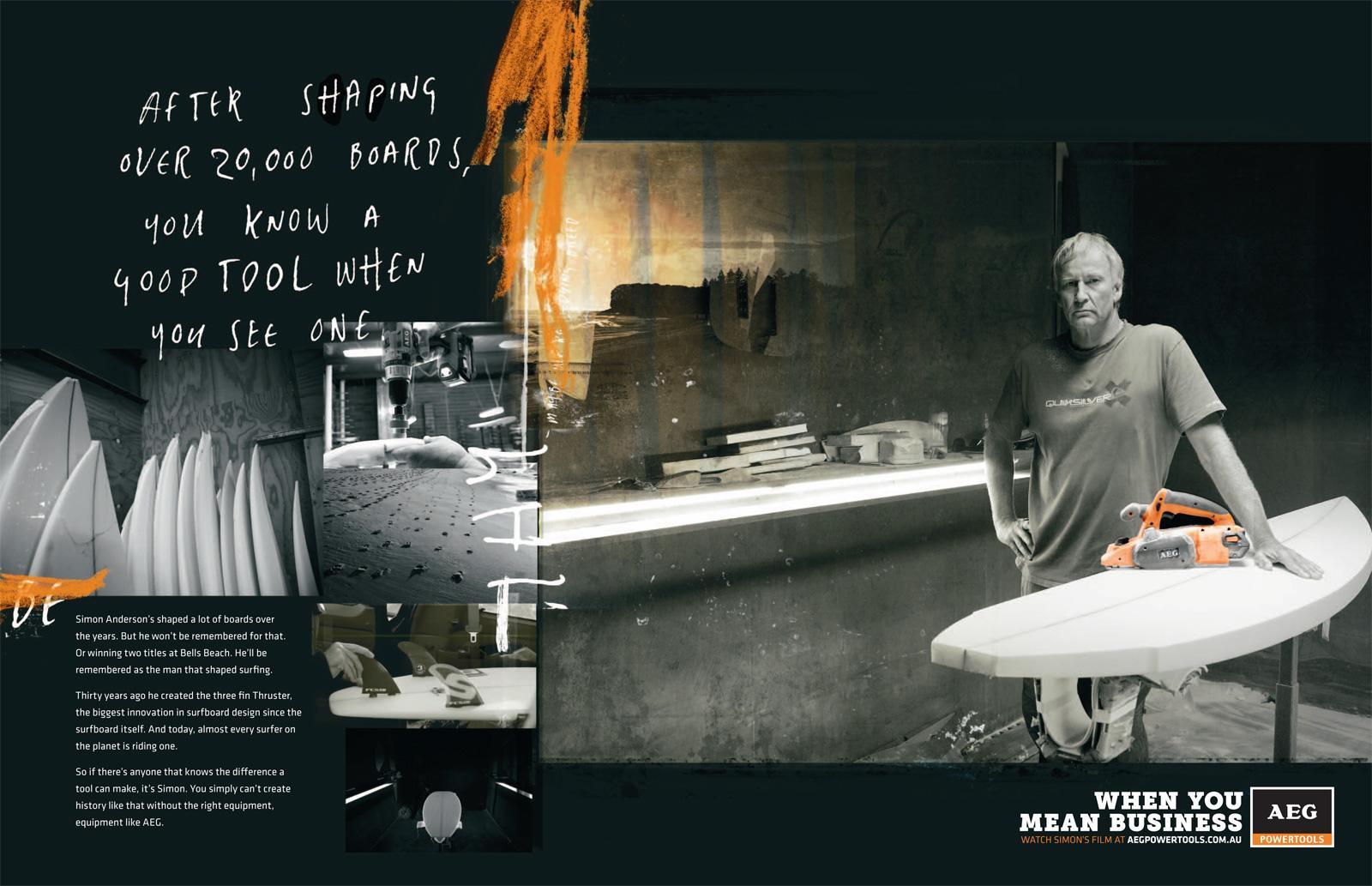 AEG Print Ad -  Tradesman Series, Simon Anderson