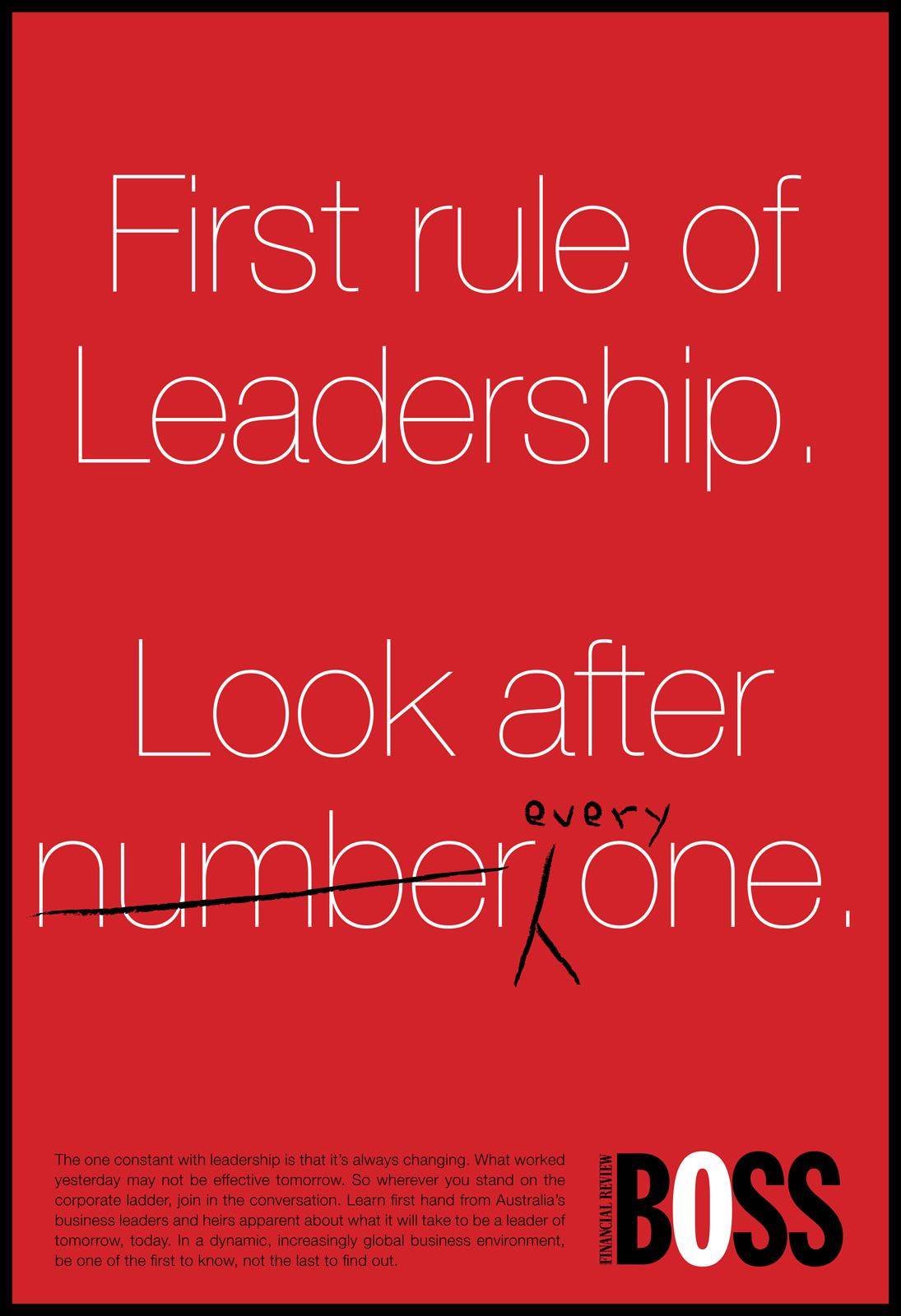 BOSS Financial Review Print Ad -  First rule of Leadership