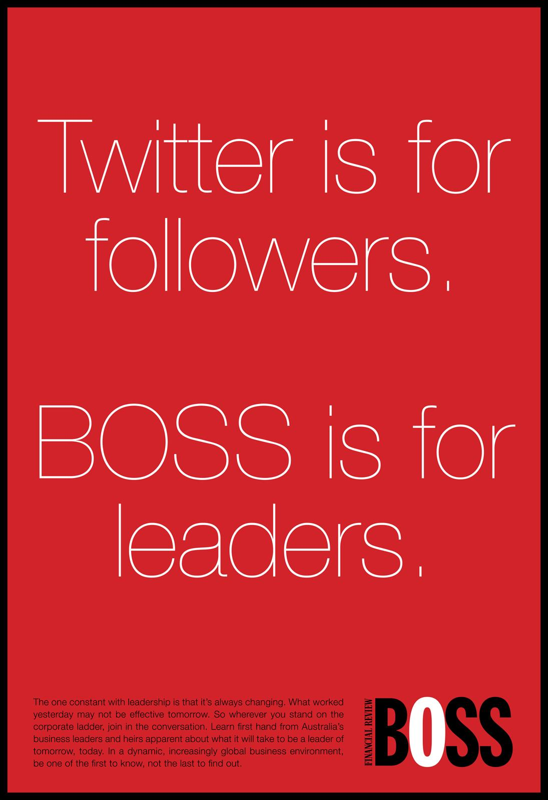BOSS Financial Review Print Ad -  Twitter