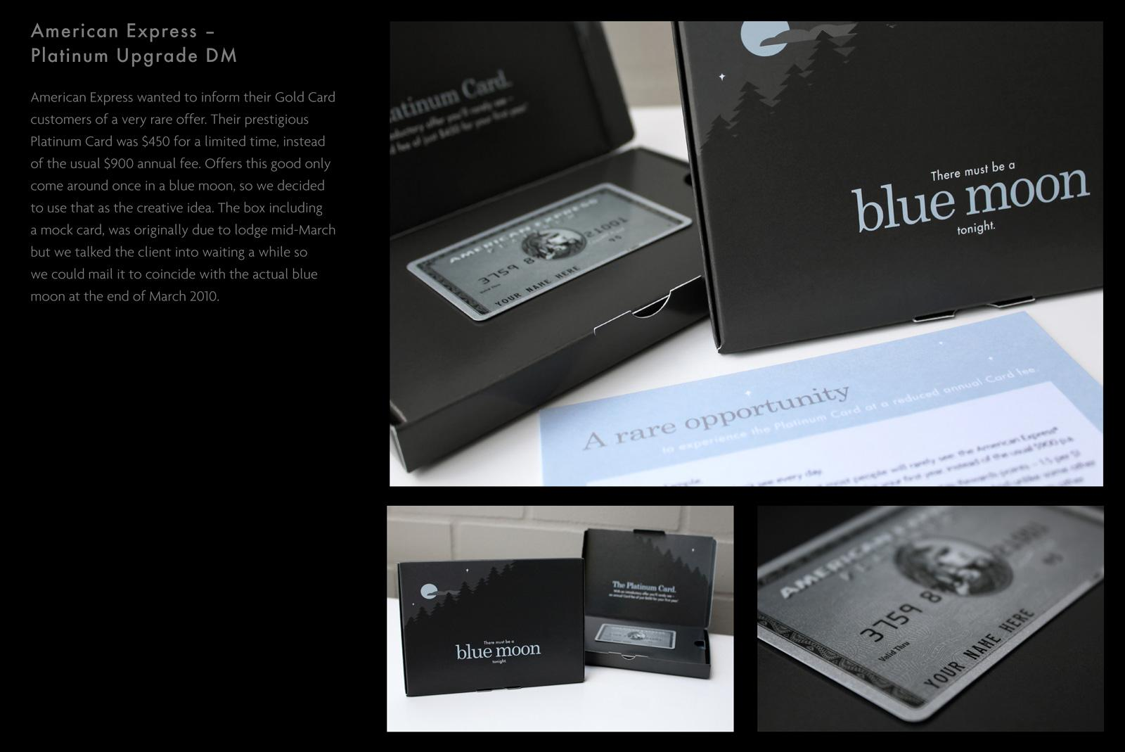 American Express Direct Ad -  Blue Moon Platinum Upgrade DM