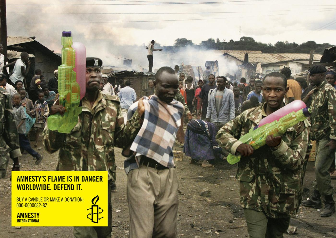 Amnesty International Print Ad -  Amnesty's flame is in danger worldwide, Africa