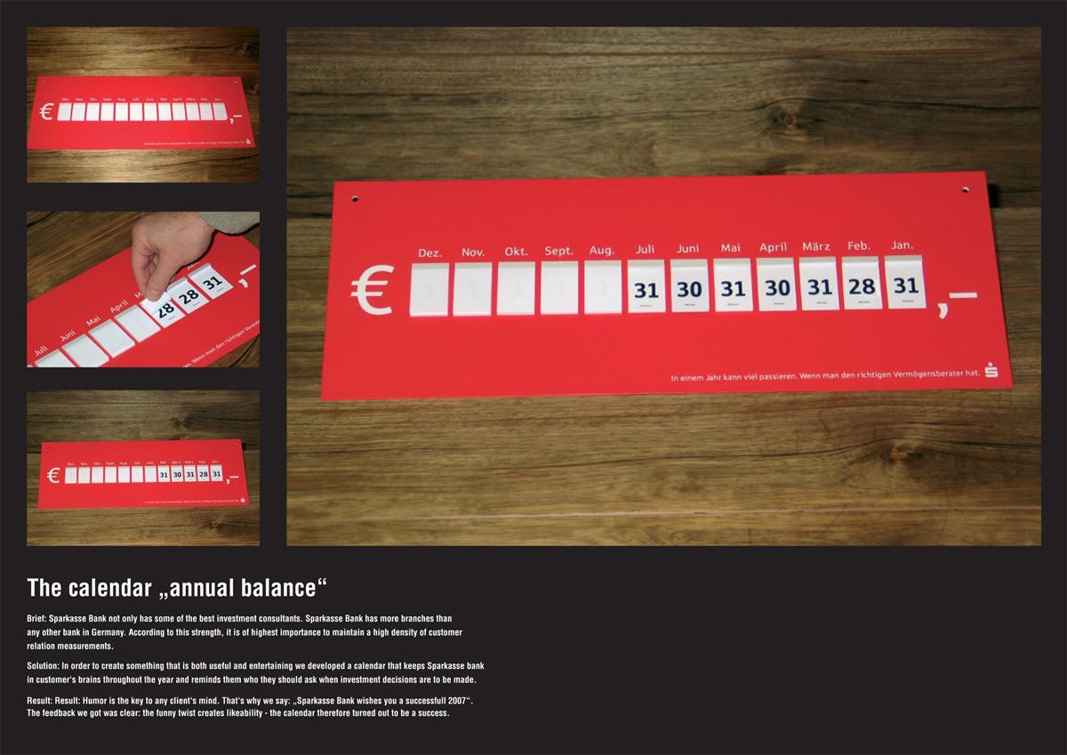 Annual balance calendar