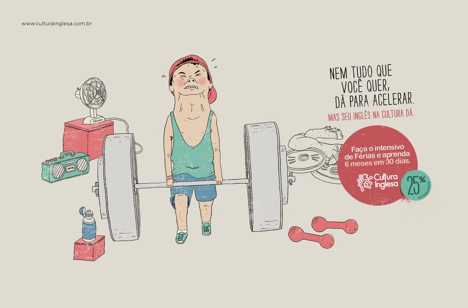 Cultura Inglesa Print Ad -  Intensive English Course, Weightlifting