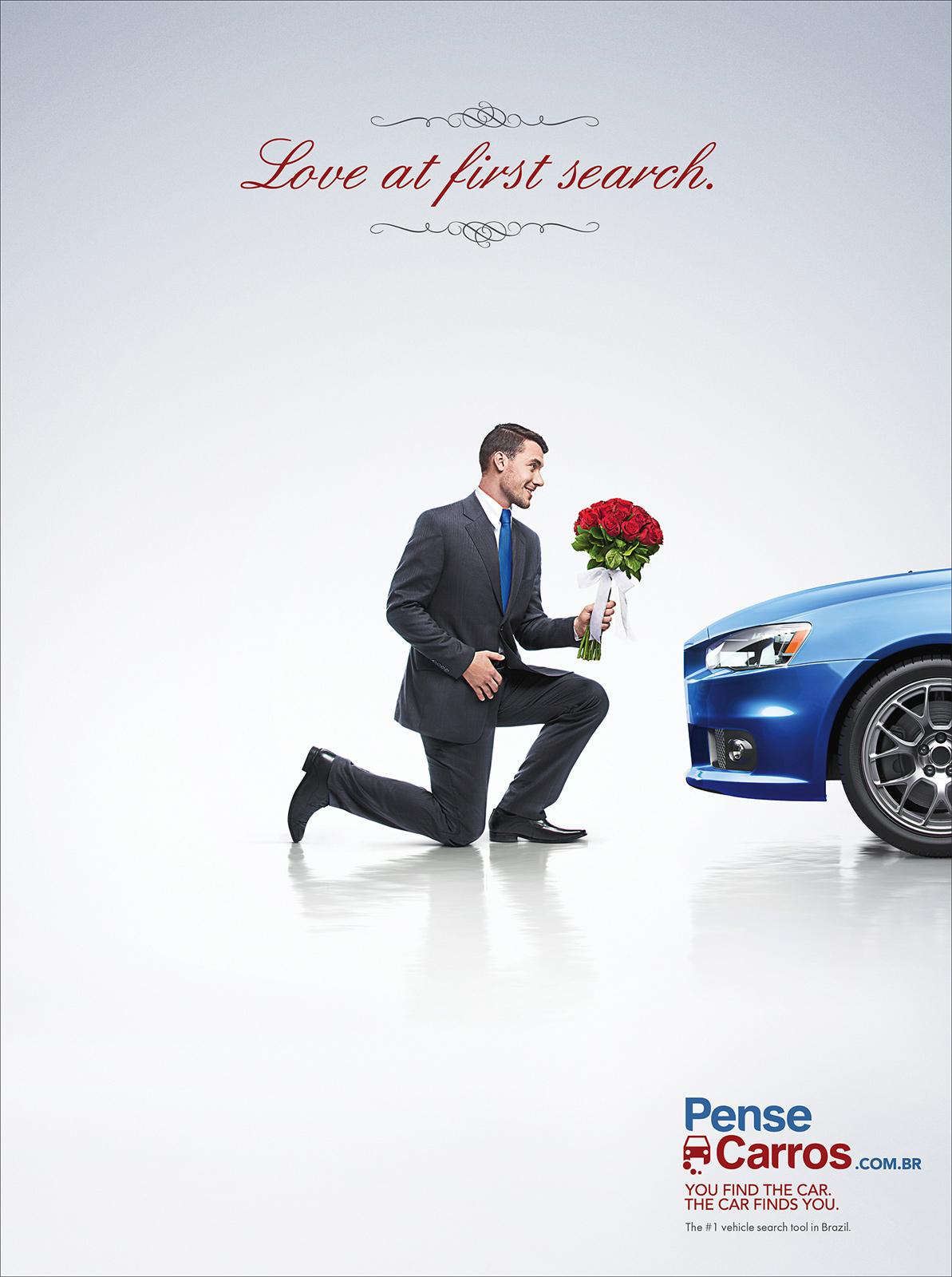 Pense Carros Print Ad -  Love at the first search, guy