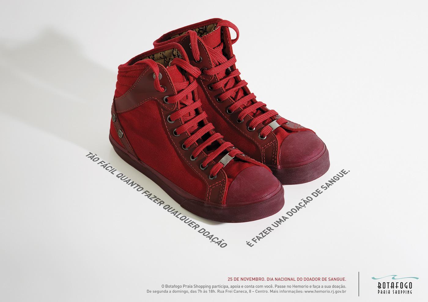 Botafogo Praia Shopping Print Ad -  Donate Blood, Boots