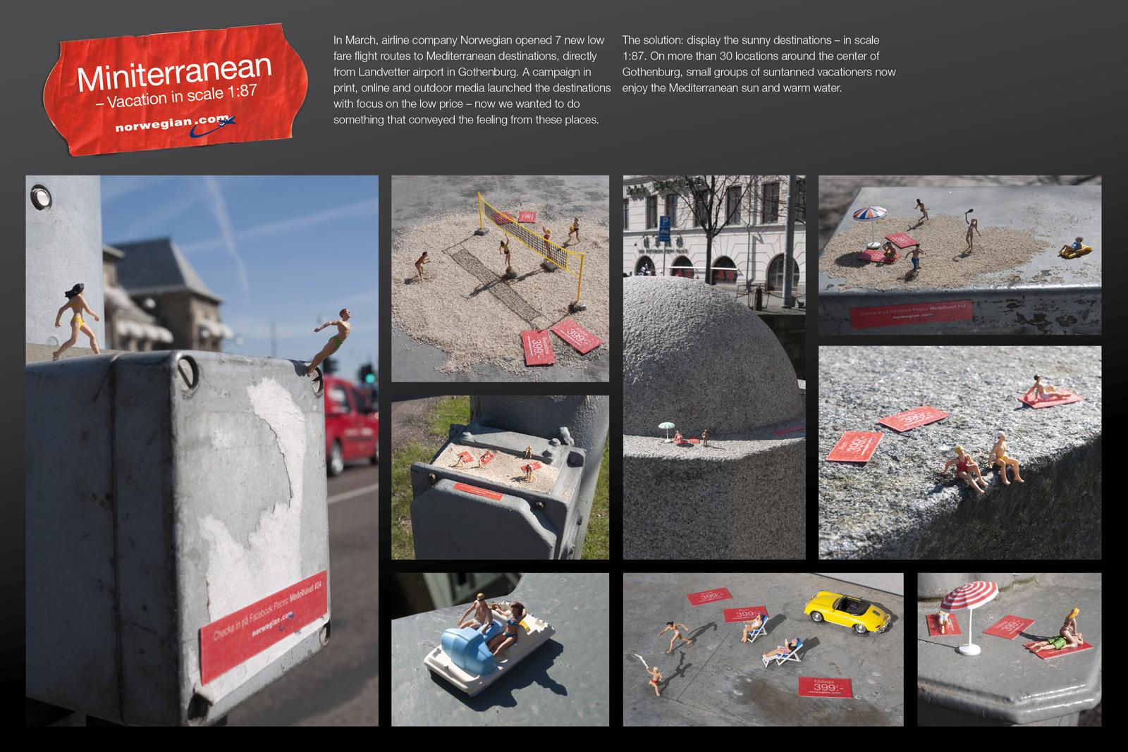 Norwegian Air Shuttle Ambient Ad -  Miniterranean - Vacation in scale 1 87