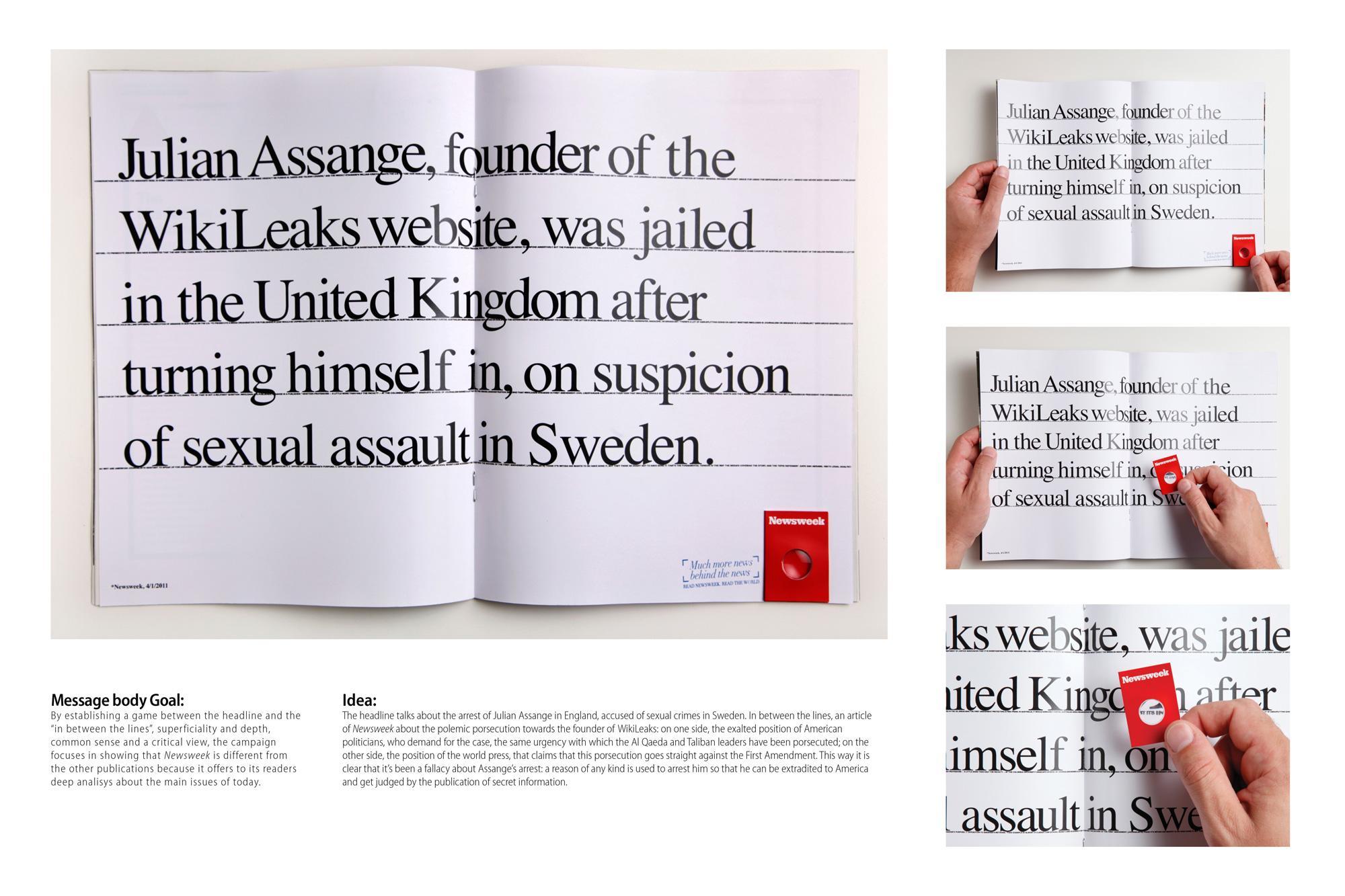 Newsweek Print Ad -  Assange