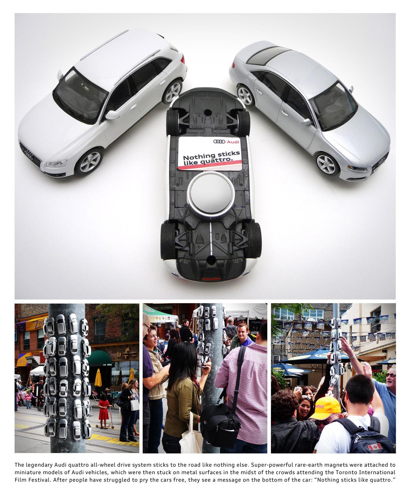 Audi Ambient Ad -  Nothing sticks like quattro