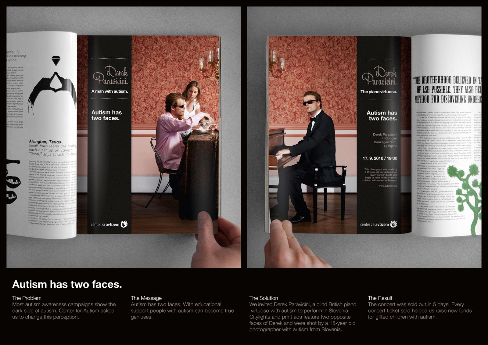 Center for Autism Print Ad -  Two faces