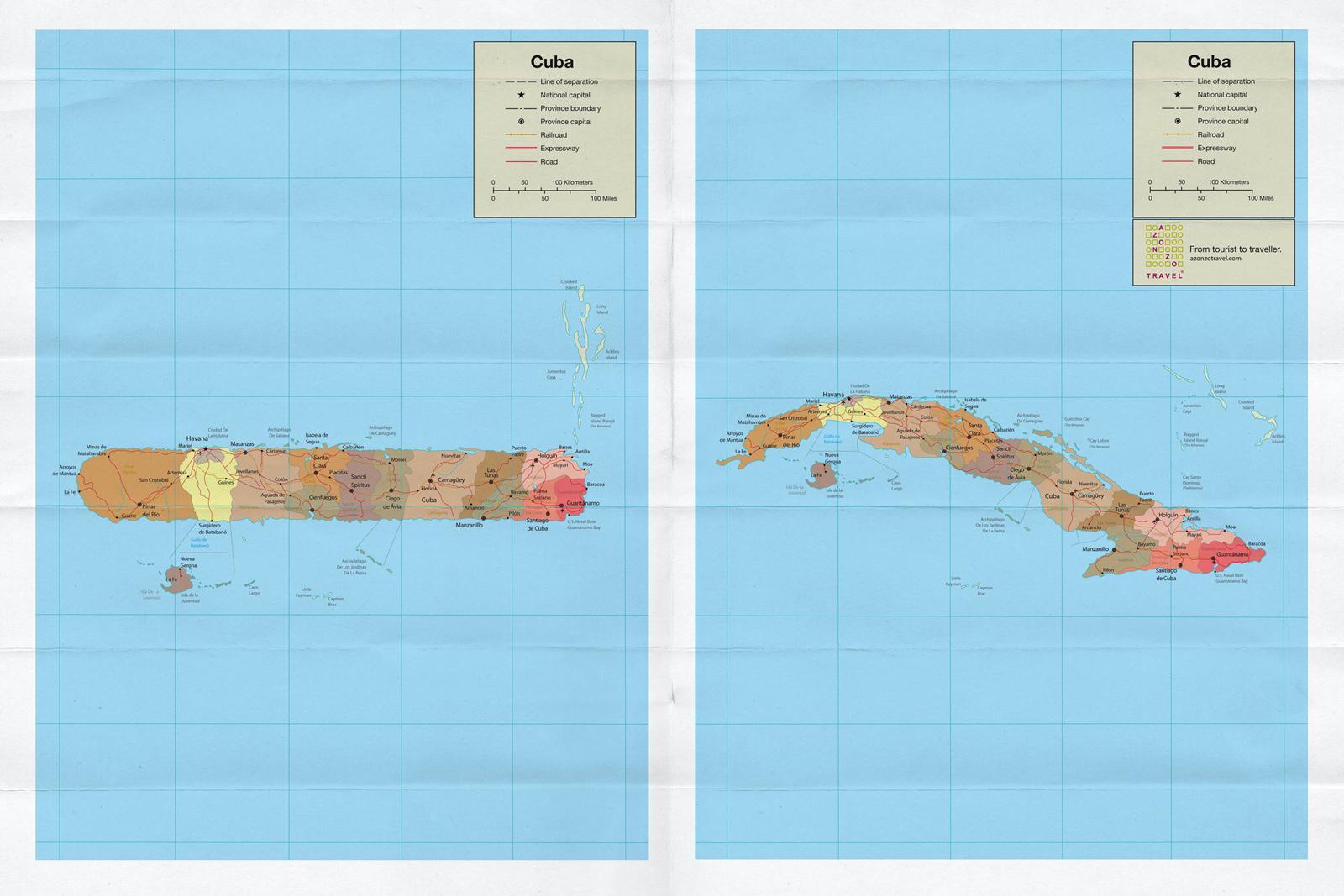 Azonzotravel Print Ad -  Cuba Map