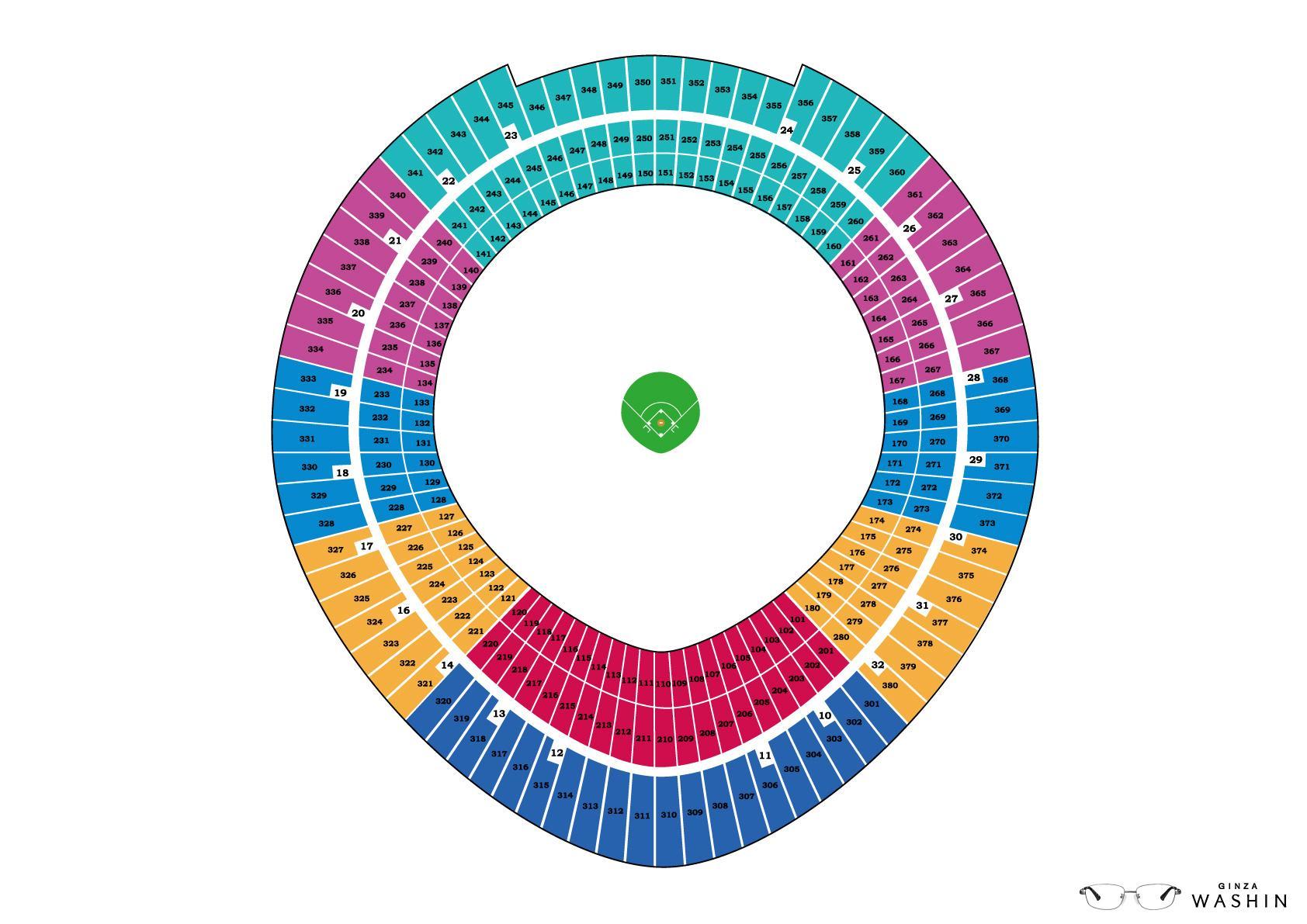 Washin Optical Print Ad -  Baseball stadium seating chart