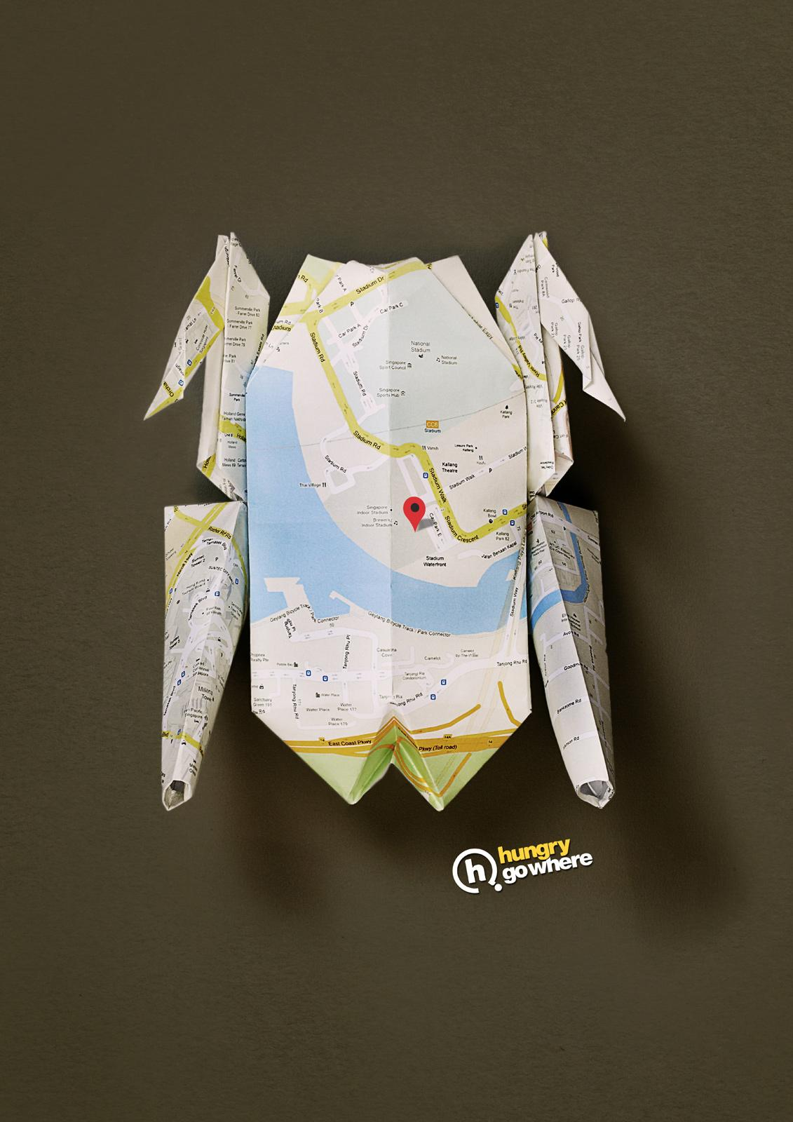 Hungry Go Where Print Ad -  Origami Chicken