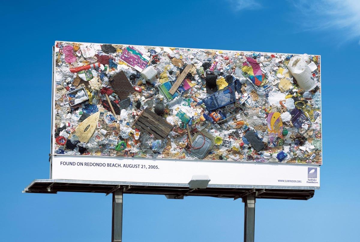Real beach trash billboard