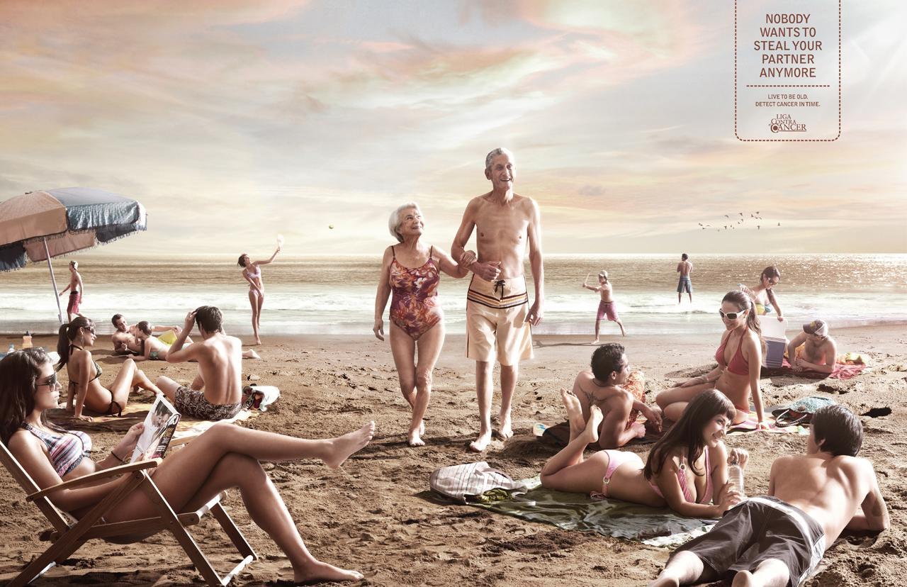 League against cancer Print Ad -  Beach