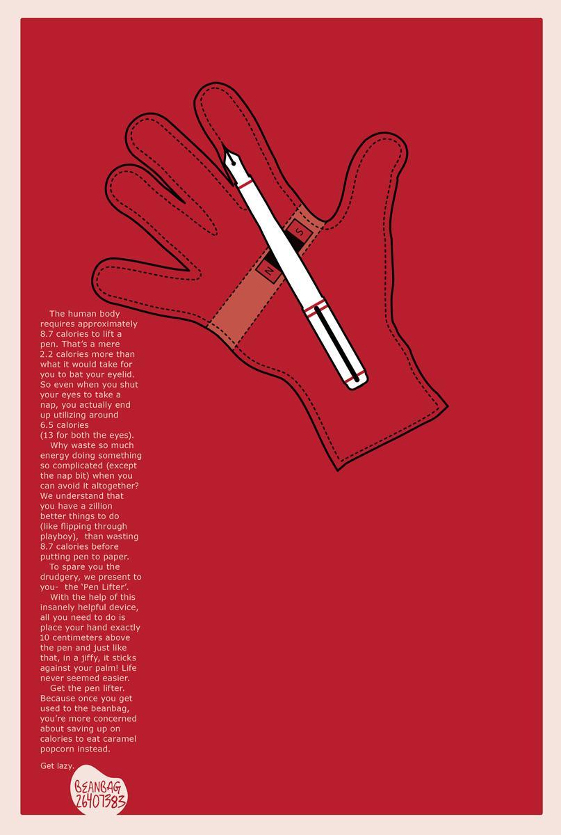Beanbag Print Ad -  Pen lifter