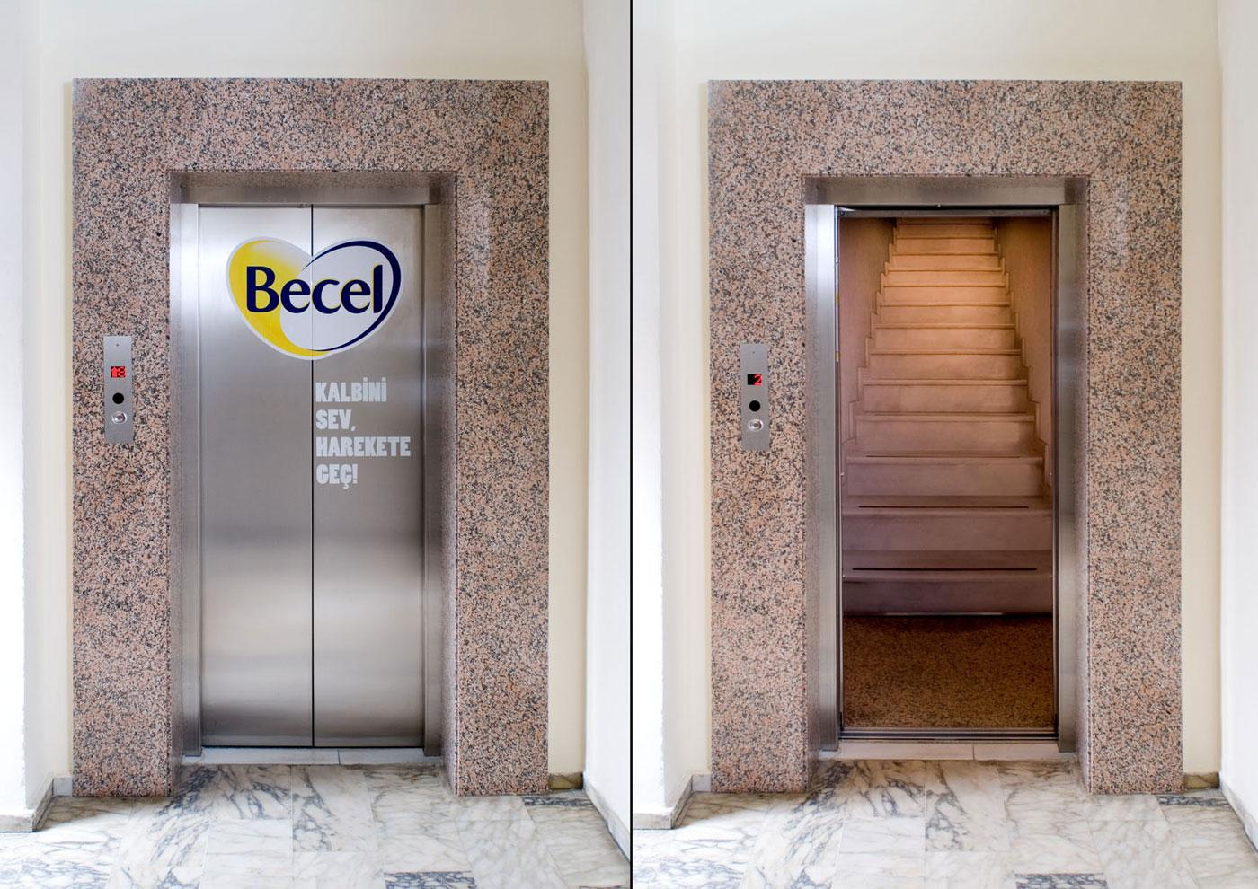 Becel Ambient Ad -  Elevator