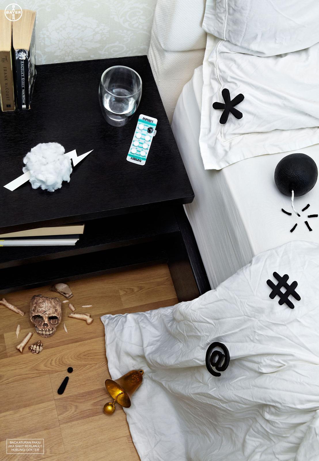 Aspirin Print Ad -  Bedroom