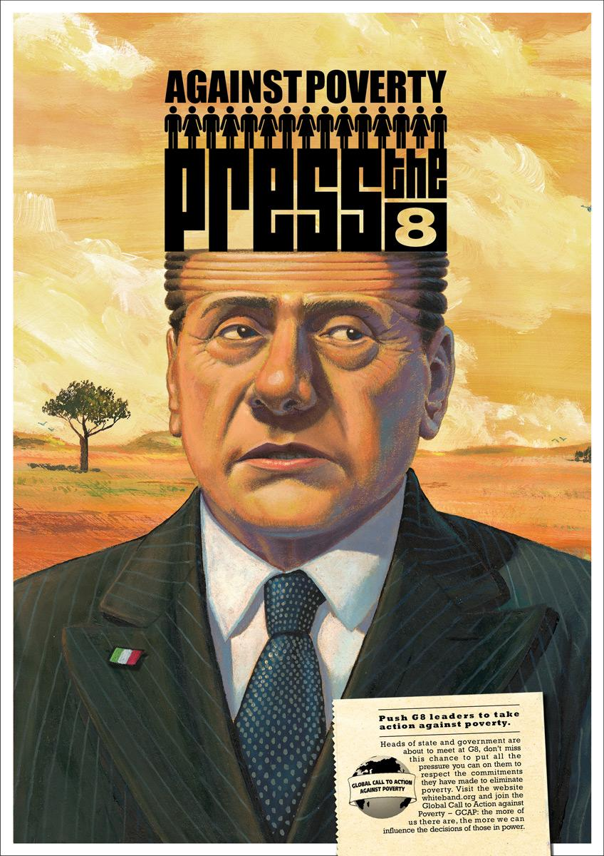 Global Call to Action Against Poverty Print Ad -  Berlusconi