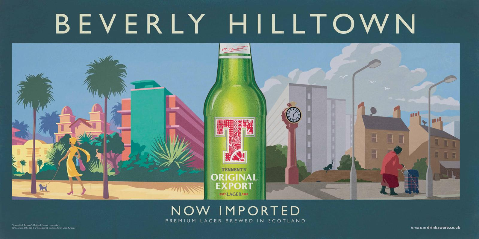 Tennent's Beer Outdoor Ad -  Beverly Hilltown