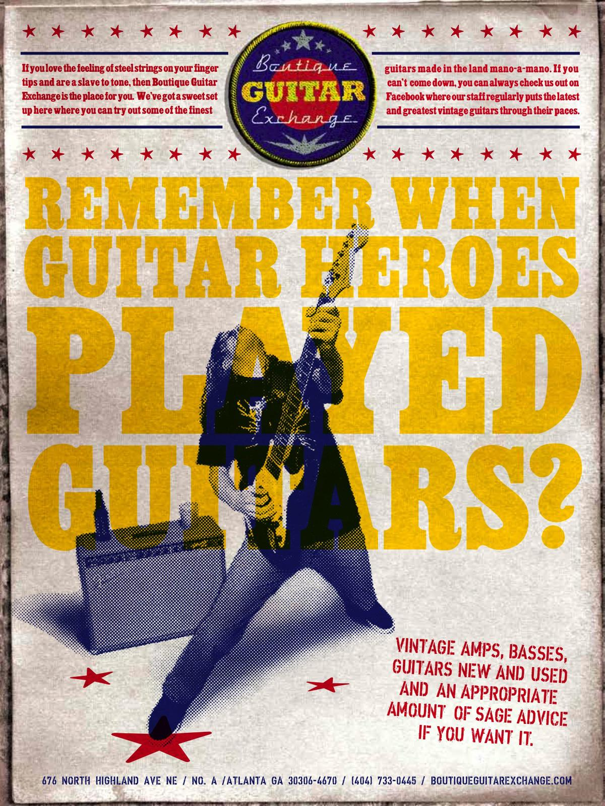 Boutique Guitar Exchange Print Ad -  Guitar Heroes