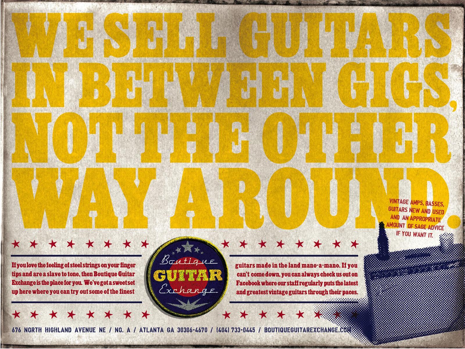 Boutique Guitar Exchange Print Ad -  Musicians First