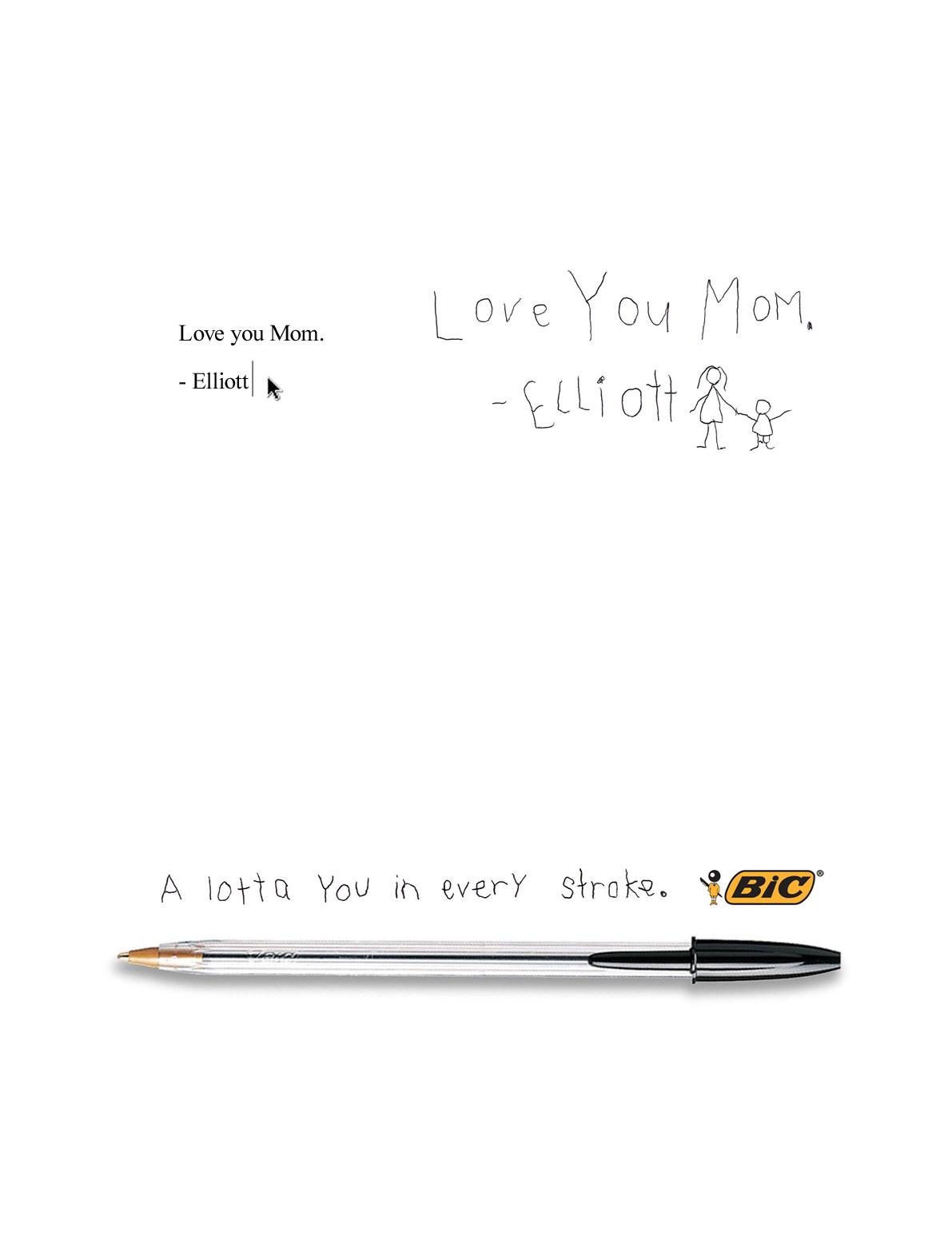 BIC Print Ad -  Love you Mom. - Elliott
