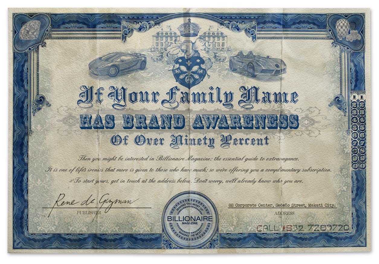 Billionaire Magazine Print Ad -  Family Name