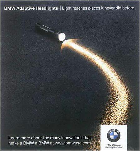 BMW Print Ad -  Adaptive headlights