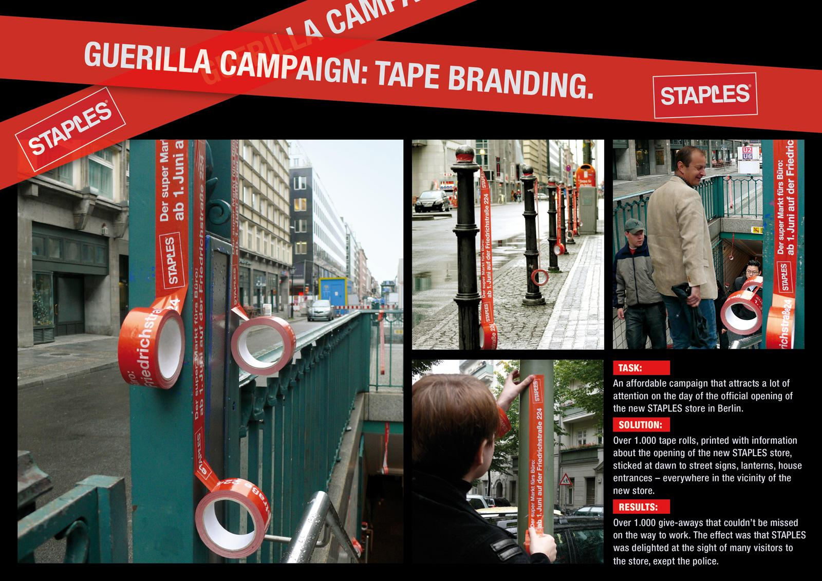 Staples Ambient Ad -  Guerilla Campaign - Tape-Branding