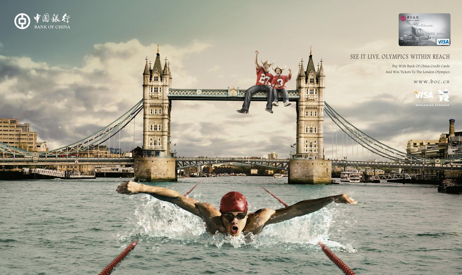 Bank of China Print Ad -  2012 London Olympics Campaign, London Tower Bridge